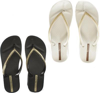 Ipanema MESH WEDGE 21 Ladies Womens Toe Post Wedge Summer Flip Flops Black Gold