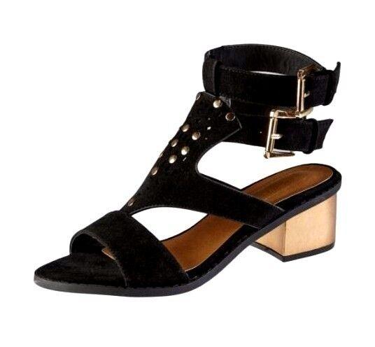New Truffle Studded Double Black Strap Block Heel Suedette Sandals Black Double Gold 056d73