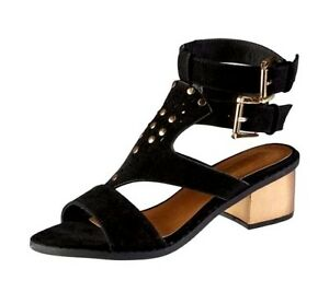 ca4447db6 New Truffle Studded Double Strap Block Heel Suedette Sandals Black ...