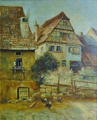 GEVERT-? o.ä.  Gemälde 1934:  HAHN UND HÜHNER HINTER ALTEN HÄUSERN