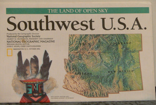 Vintage 1992 National Geographic Map of Southwest USA