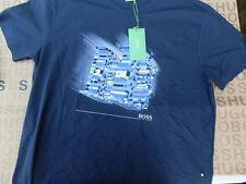 HUGO BOSS RUBIK/'S BLOCK CUBE TEE 4 BLUE WHITE GREY REGULAR FIT COTTON T-SHIRT