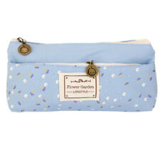 Flower Canvas Pencil Case Cosmetic Coin Pouch Zipper Bag Girl Purse Blue