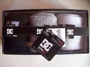 DC-SHOES-Socks-Mens-Crew-3pr-Sock-Sz-10-13-Shoe-Sz-6-12-5-Black-White-Gray-NIB