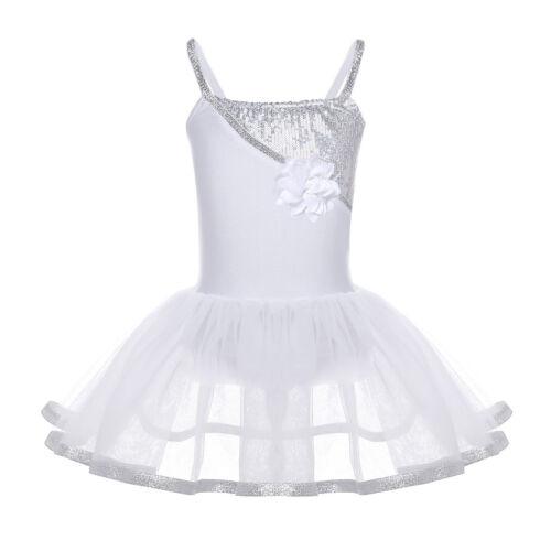 Girl Ballet Dress Kid Gymnastics Sequined Leotard Tutu Skirt Ballerina Dancewear