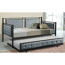 Daybed With Trundle Metal Dorm Twin XL Upholstered Sofa Guest Bedroom Furniture