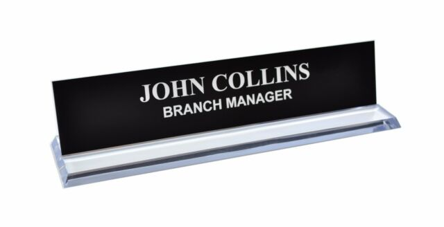 Personalized Office Desk Name Plate Sign 4 Colors Plastic Holder Engraved