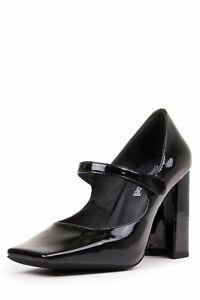 Women's Shoes Heels Honest Jeffrey Campbell Marquine,puntera Negra Cuero Punta Cuadrada Merceditas Shrink-Proof