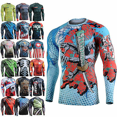 mens womens skin compression under base layer shirt cycling mma armour print top