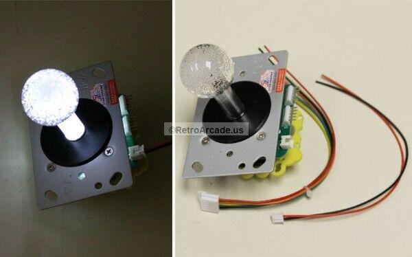 LED Illuminated Arcade Joystick 2-4-8-way with White LED Ball Top