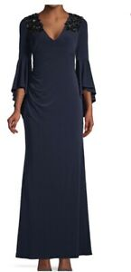 Calvin-Klein-Women-039-s-Embellished-Stretch-Bell-Sleeve-Twilight-Blue-Gown-Sz-2-New