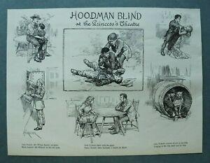 L1c) Holzstich Hoodman Blind 1885 Princess Theater Mord A Forestier Kunst 25x19