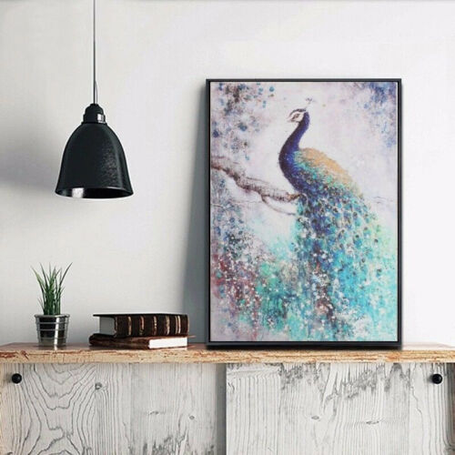 Peacock HD Canvas Print Wall Art Painting Picture Poster Decor Unframed 75x50cm~