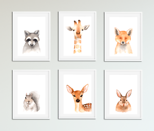 Details About Forest Animals Pictures Prints For Baby Room Nursery Bedroom Uni