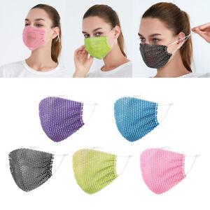 2 pezzi maschera a rete con strass scintillanti maschere per il viso in maschera