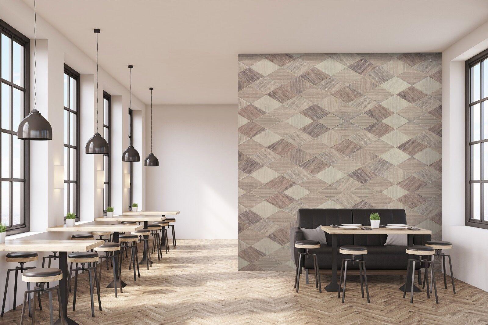 3D Diamond Wood Grain 7 Texture Tiles Marble Wall Paper Decal Wallpaper Mural AJ