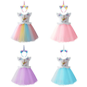 6300efd306eb9 Details about Unicorn Cosplay Costume Flower Girl Dress with Headband  Birthday Clothes Outfits
