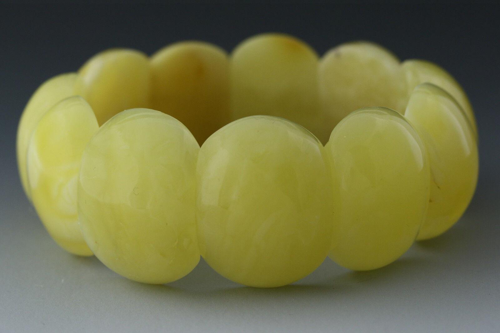 Genuine BALTIC AMBER Egg Yolk Pieces Stretch Unisex Bracelet 38.1g 190124-1