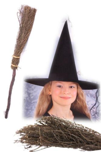 Kinder Hexen SET Hut /& Hexenbesen 90 cm Reisig Besen Kostüm Fasching Halloween