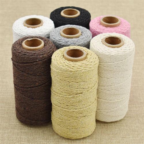 100 yarda Cuerda Macramé Negro//rosa cordón de algodón trenzado mano artesanal cadena Hágalo usted mismo Suministros