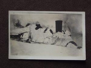 TRAIN STEAM ENGINE BURIED UNDER SNOW Vintage REAL PHOTO POSTCARD