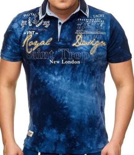 L.gonline Herren Polo Shirt Royal DesignWashed ShirtSommer ShirtsLG-005