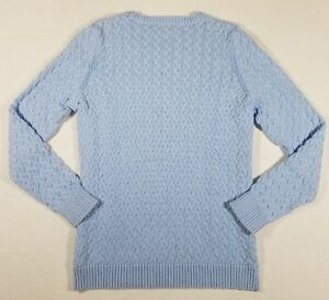 Kim-Rogers-Sweater-Womens-Size-Large-Crew-Neck-Cable-Knit-Long-Sleeve-Cotton