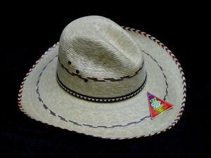 Natural fiber palm leaf mens Gus Lonesome Dove cowboy style  M-XL