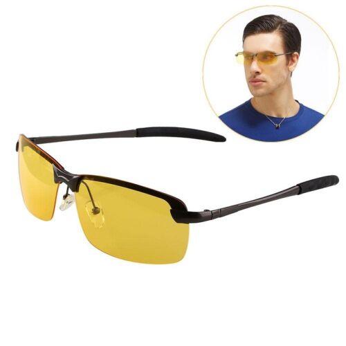 Mens Sports Night Driving Anti Glare Glasses Polarized Yellow Driver Sunglass