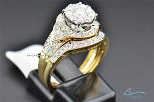 10K-Yellow-Gold-Plated-Round-Diamond-Engagement-Ring-Wedding-Band-Bridal-Set