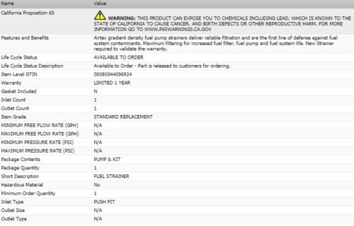 AIRTEX Fuel Strainer for CADILLAC BROUGHAM 1990-1992 V8-5.7L