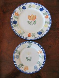 Montgomery-Ward-Tulip-Multi-color-Flowers-1-Dinner-Plate-amp-1-Salad-Plate