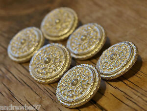 6x Vintage Metal Emblem Military Coat of Arms Cuff Buttons 15-18mm Gold /& Silver