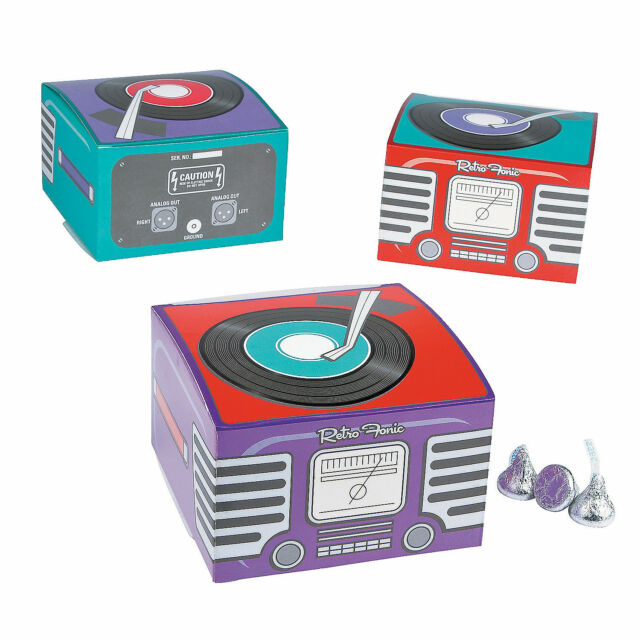 12 Rockin 50s Grease Sock Hop Party Favor MINI Record Player GOODY TREAT BOXES