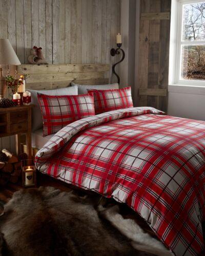 Portfolio Tartan Check Duvet Sets Single Double King  Red