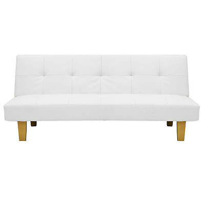 Tremendous White Convertible Futon Recliner Sofa Guest Bed Faux Leather Wood Frame Couch Ebay Gmtry Best Dining Table And Chair Ideas Images Gmtryco