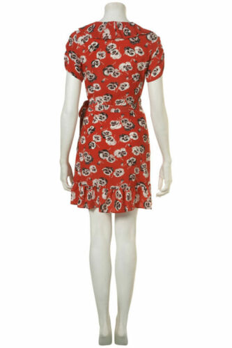 36 Moss Kate Topshop 4 Vintage Frill Red 8 Wrap Dress Pansy Mini Poppy Ruffle rBdrxP6
