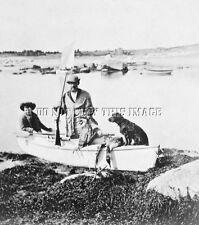 ANTIQUE PRE 1900 HUNTING REPRO 8X10 PHOTO DUCK BOAT SHOTGUN CURLY COAT RETRIVER