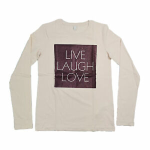 Esprit ragazza manica lunga top rosa-Live Laugh Love