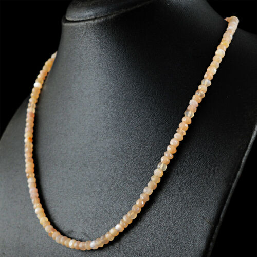 Amazing 20 Inches Long 95.00 Cts Earth Mined Moonstone Faceted Beads Necklace