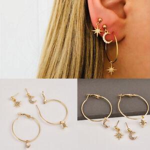 Details About 4pcs Set Cute Moon Star Rhinestone Ear Stud Earrings Women S Gold Plated Jewelry
