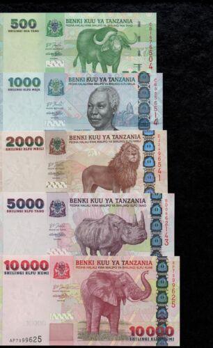 LION RHINO ELEPHANT TANZANIA SET 500-10000 SHILLINGS BANKNOTES 2003-06 UNC