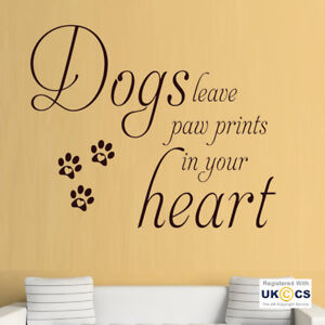 Wall-Stickers-Dog-Paw-Prints-Heart-Cute-Pet-Quote-Love-Hall-Art-Decal-Vinyl-Room