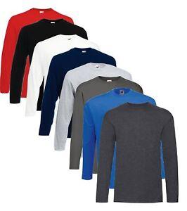 Manches Longues Coton Gris Rouge Bleu Noir T-Shirt S-XXXL +4XL+5XL