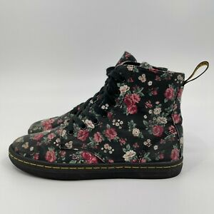 Dr. Martens Hackney Black Pink Roses Canvas Lace Up Ankle High Top Womens Size 6