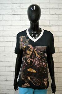 JUST-CAVALLI-Maglia-Nera-Donna-Taglia-L-Maglietta-Polo-Manica-Corta-Shirt-Woman
