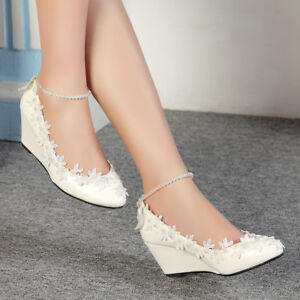 7a6bc148dbd Image is loading Princess-Pearls-Lace-Floral-Lady-Wedge-Shoes-Wedding-