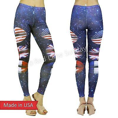 Sexy Cosmic Galaxy Smooch Lips Flags US UK FR Print Leggings Tight Pants USA