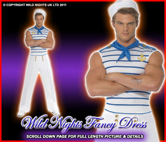 FANCY DRESS COSTUME # MENS FRENCH SAILOR MED