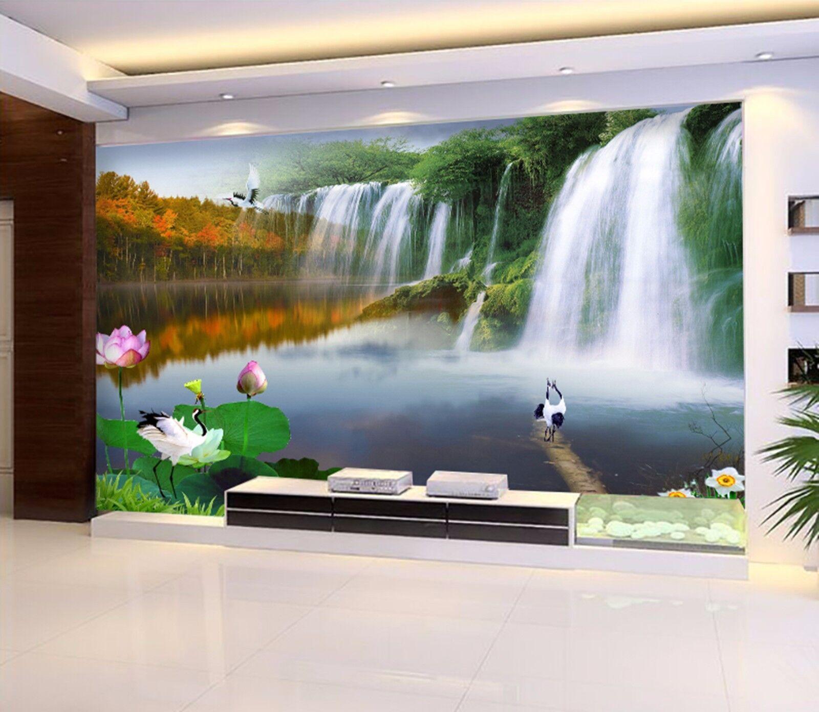 3D Waterfall Heron 645 Wall Paper Wall Print Decal Wall Deco Indoor Wall Murals
